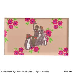 Biker Wedding Floral Table Place Card Holder
