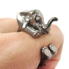 3D Baby Elephant Animal Wrap Around Ring in Gunmetal Silver   Size 5 to 8.5 $12.50 #elephants #animals #jewelry #rings #cute