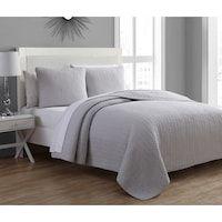 Tristan Matelasse Silver Grey Cotton 3-piece Quilt Set