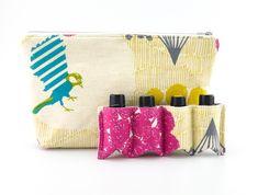 Essential Oil Bag,  Essential Oil Travel Bag, Essential Oil Pouch, Essential Oil Carry Bag, Essential Oil Wallet, Cream Humming Bird