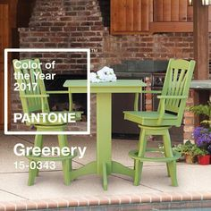 """Set the trend with #poly #furniture in #Pantone's Color of the Year #Greenery. Refresh and revitalize an outdoor space with this """"yellow-green shade that evokes the first days of spring"""" and is also a """"life-affirming shade emblematic of personal passions and vitality."""" Shop the look. Links in bio. #DutchCrafters #AmishFurniture #pantone2017 #polywood #pubtable #polybarstools"""