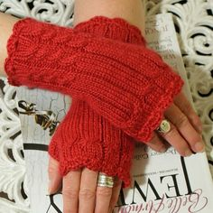 Fingerless Mittens  Lady in Red Soft Angora by magentaskystudio, $36.00