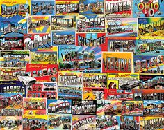 """Postcards"" ~ a 1000 piece jigsaw puzzle by White Mountain Puzzles (2014). Artist: Charlie Girard"