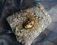 Golden mask-- delicate mysterious gauntlet from vintage and antique laces, hand beading