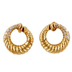 Van Cleef & Arpels - Diamond Yellow Gold Hoop Earrings