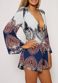 Take your party look to the next level witht his baroque print plunge romper. It features flared sleeves and plunging neckline that can add a sexy and dramatic factor to your summer attire. | Lookbook store What's New