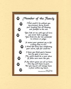 Member of the Family Dog or Cat Poem