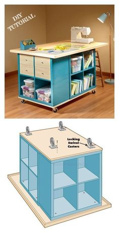 Craft Tables With Storage, Craft Room Tables, Craft Desk, Diy Desk, Craft Storage, Diy Table, Sewing Craft Table, Diy Crafts Desk, Storage Cubes