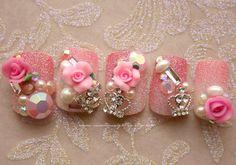 Kawaii Japanese 3D Nail Art Princess Rose by Nevertoomuchglitter, $22.00