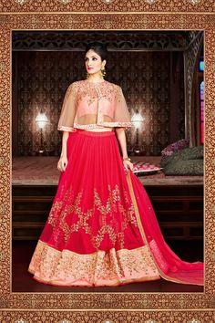 a59974c35c Angelic Rani Pink and Salmon Pink Designer Lehenga Choli Work:-Heavy zari,  resham embroidery, with stone and diamond having lace border work. Fabric:- Silk ...