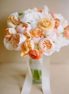 Peach Garden Rose Bouquet anemone and rose bouquet | ranunculus, rose and wedding