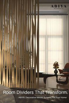 Looking for ideas on how to Divide a Room? Why not chose a Metal Decorative Screen / Panel by ABIYA Mashrabiya. Our Screens are made of Aluminum and are Light Weight, Easy to install, ALL CUSTOM (chose your color, size, pattern), 2 year warranty and don't forget..STUNNING to look at! Visit our website today to see how you can use our panels in your Dubai Interior Design. Designed & Manufactured in Dubai, UAE. Decor Interior Design, Interior Decorating, Decorative Screen Panels, Room Partition Designs, Privacy Screen Outdoor, Room Decor, Wall Decor, Home And Garden, Dubai Uae