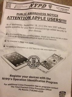 NYPD Distributing Flyers in New York City Recommending Users to Update to iOS 7 [iOS Blog] - http://www.aivanet.com/2013/09/nypd-distributing-flyers-in-new-york-city-recommending-users-to-update-to-ios-7-ios-blog/