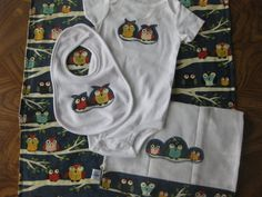 Baby Gift Set Owl applique four piece set by OliveStreetStudio, $55.00