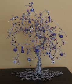 Beaded Wire Tree in Mulberry Repose by PeapodArts on Etsy, $115.00