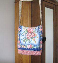 Messenger Bag Repurposed Quilt Shoulder Bag by JanasTotesandBags