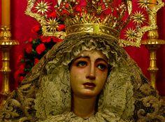 Iglesias de San Pedro, Sevilla : weeping Madonna in the chapel of the Hermandad del Santisimo Cristo de Burgos y Madre de Dios de la Palma.
