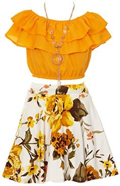 Little Girls Mustard Yellow Off Shoulder Crop Ruffle Layered Top and Skirt Set Outfit USA Size 6 iGirlDress Cute Girl Outfits, Kids Outfits, Casual Outfits, Girls Fashion Clothes, Girl Fashion, Fashion Outfits, Girl Clothing, Cute Dresses, Girls Dresses