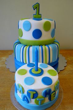 Stripes & Dots Boys 1st Birthday