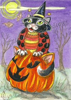 Witch cat Ladybug Pumpkin aceo EBSQ Kim Loberg fantasy Insect mini Art Halloween #IllustrationArt