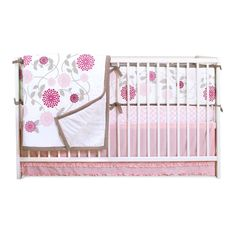 Sweet Primrose four piece set includes a comforter, reversible bumper, fitted sheet and dust ruffle. Accented with pl