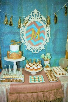 Dessert table at a gold and blue birthday party! See more party ideas at CatchMyParty.com!