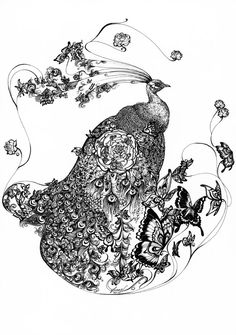"""""""Peacock Mandala I"""" 11.69"""" x 16.54"""" (A3) Pen and ink on paper Signed """"feanne"""" and dated """"201007"""" on bottom middle. Dreams taking flight. Framed. Available. Was at my first solo art exhibit, Outersp..."""