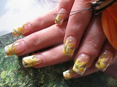 French manicure with yellow flowers!