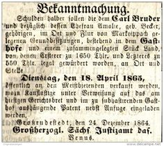 Original-Werbung/ Anzeige 1865 - ZWANGSVERSTEIGERUNG / CARL BRUDER / MARKVIPPACH - ca. 75 x 60 mm