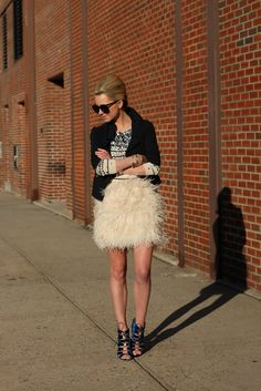 Love. Feather Skirt. Stripes. Chic.