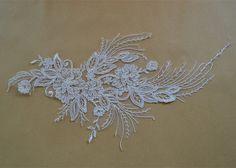 Wedding Lace Applique Lace Motif Trim Ivory Wedding by LaceNTrim