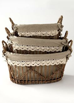 Storage Solutions ---- pretty lined baskets are classic country containers. Basket Liners, Little Corner, Linens And Lace, Basket Weaving, Wicker Baskets, Storage Solutions, Crates, Diy And Crafts, Sweet Home