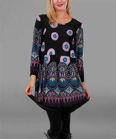 Loving this Black & Pink Arabesque Tunic - Plus on #zulily! #zulilyfinds