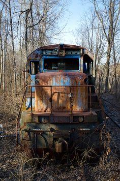 abandoned train cars