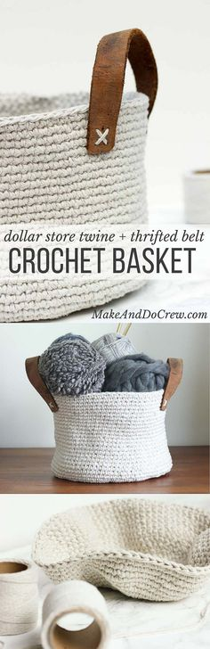 Combine cheap utilitarian twine (from Dollar Tree!) and a thrifted leather belt to create a raw, yet sophisticated home decor piece a la West Elm or Anthropologie. This free crochet basket pattern is exceptionally easy to make with only single crochet stitches and can be customized to any size. Click for the free pattern and photo tutorial. | ☂ᙓᖇᗴᔕᗩ ᖇᙓᔕ☂ᙓᘐᘎᓮ http://www.pinterest.com/teretegui