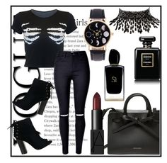 """""""Rockthevote_"""" by bigdaddyweave16 ❤ liked on Polyvore featuring Amrita Singh, NARS Cosmetics, Chanel and Giorgio Armani"""