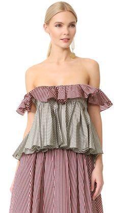 TOME Sleeveless Tiered Ruffle Blouse. #tome #cloth #dress #top #shirt #sweater #skirt #beachwear #activewear