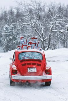 Red Car With Christmas Gifts