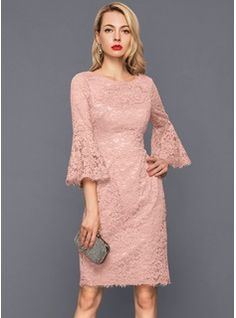 <img> Sheath/Column Scoop Neck Knee-Length Zipper Up Sleeves Sleeves No Dusty Rose Winter Spring Summer Fall General Plus Lace US 2 / UK 6 / EU 32 Cocktail Dress - Belted Dress, Dress Skirt, Bodycon Dress, Dress Brokat, Robes D'occasion, Ribbed Knit Dress, Tube Dress, Special Occasion Dresses, Designer Dresses