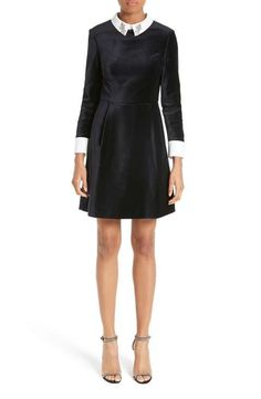 Ted Baker London Cheryll Embellished Collar Velvet Dress