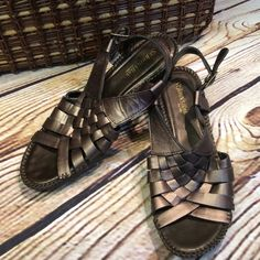 SZ 7 ST. JOHN'S BAY WOVEN LEATHER WEDGE SANDALS These are Very lightly worn made of a gorgeous bronze leather and a small wedge heel St. John's Bay Shoes Sandals