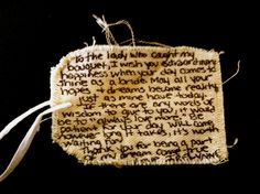 Handwritten note from the bride...What a sweet idea to attach to the Toss Bouquet!