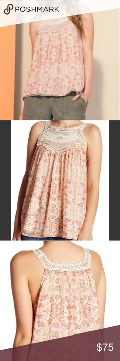 NWT Joie Bayard Crocheted Lace Trim Silk Tank *brand new with tag *size medium  *scoop neck *sleeveless *sheer crocheted lace front yoke, straps and back trim *allover print *lined body  Materials:  Shell: 100% silk Lining: 100% polyester Joie Tops Tank Tops