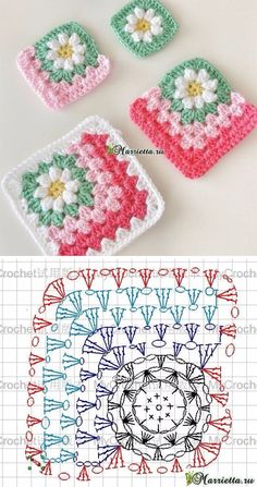 Crochet Squares Granny Patterns Flower Crochet Granny Blanket Pattern Tutorial - This lovely flowers granny square blanket is the best example on what you can archive joining beautiful granny squares. Granny squares will never get outdated. Motifs Granny Square, Crochet Motifs, Granny Square Blanket, Granny Square Crochet Pattern, Crochet Flower Patterns, Crochet Squares, Crochet Blanket Patterns, Crochet Flowers, Crochet Daisy