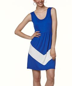 Look at this Young Threads Blue & White Color Block Sleeveless Dress on #zulily today!