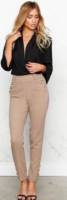 Black Top + Camel Pants                                                                             Source
