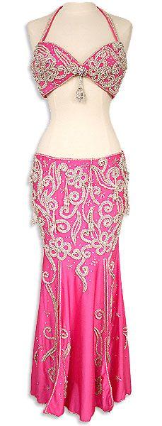 Hot Pink Egyptian Bra & Skirt Belly Dance Costume In Stock - At DancingRahana.com