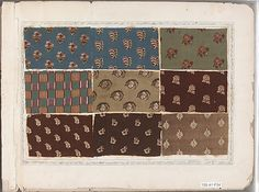 """The Met - Textile Sample Book, 1780 - collection of cotton prints, """"Written on inside cover: """"His High Mightiness King Cotton - Potentate of Printing - Prince of Patchwork - Duke de Laine - Marquis of Muslin - Lord of Lawn - Baron Barège Balzaine (?) and Count of Calico and Cambric"""" - click through for many more"""