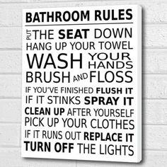 Bathroom Rules Wall Art Box Canvas - white A3 12x16 inch Cheryl Monaghan http://www.amazon.co.uk/dp/B00VQF5E2W/ref=cm_sw_r_pi_dp_NLnpvb02B4VVZ