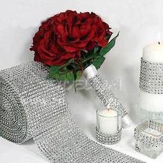 """1.55""""x10 yards Wedding Diamond Mesh Wrap Roll Sparkle Rhinestone Ribbon Silver"""